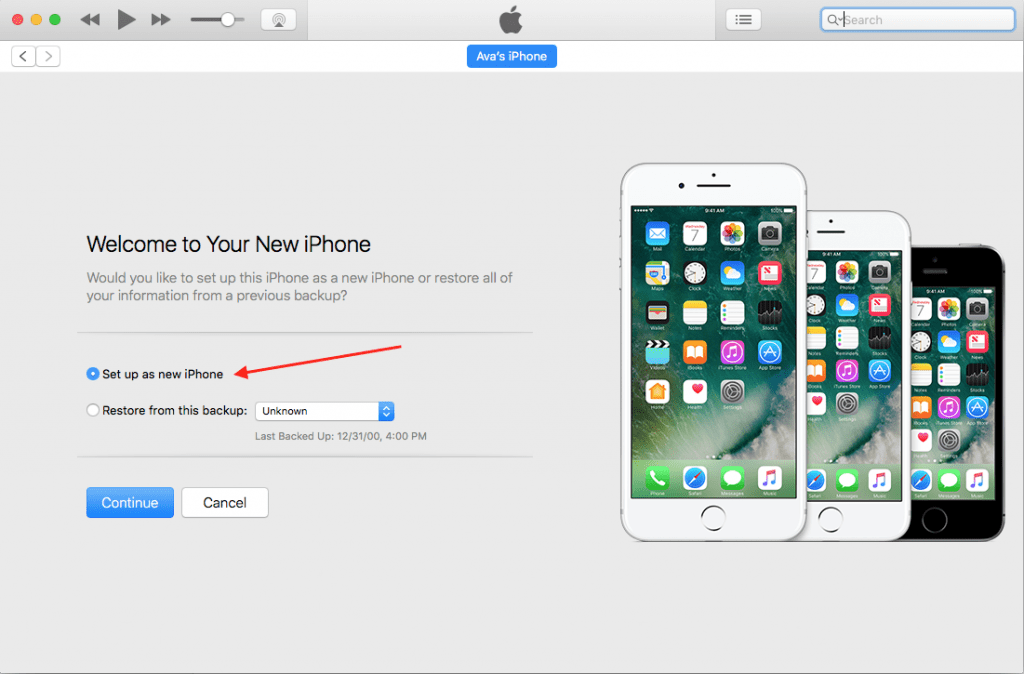 Setup new device in iTunes