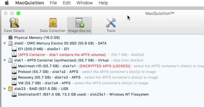 MacQuisition displaying Memory, 1 disk with 1 APFS container with stock volumes (Macintosh HD, VM, Preboot, Recovery)