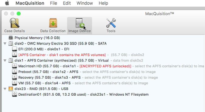 Image Device now indicates unlocked - Blacklight, acquisition, forensics, digital forensics, windows forensics, Mac forensics