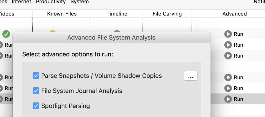 To parse APFS Snapshot set the Parse Snapshots option on Advanced File System Analysis