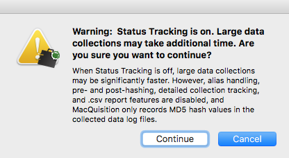 Status Tracking Pop-up message